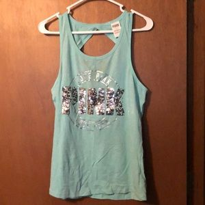 Victoria's Secret pink mint green open back tank